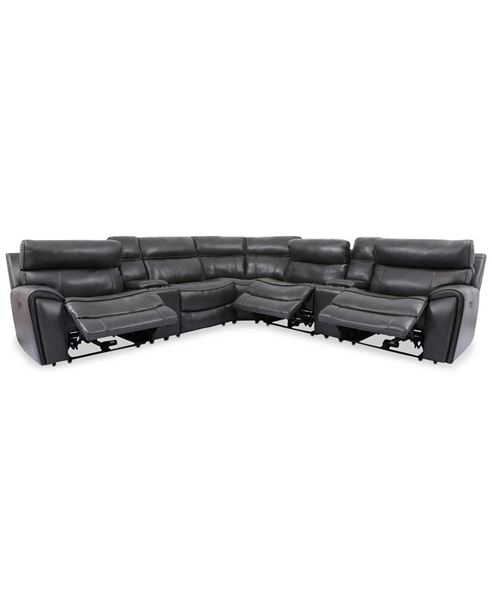Furniture - Hutchenson 7-Pc. Leather Sectional with 3 Power Recliners, Power Headrests and 2 Consoles with USB