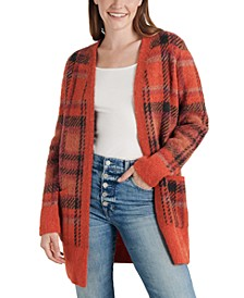 Oversized Plaid Knit Cardigan