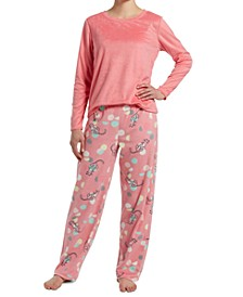 Sueded Fleece Top & Printed Pants Pajama Set, Online Only