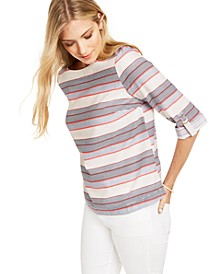 Striped Boat-Neck Linen-Blend Top, Created for Macy's