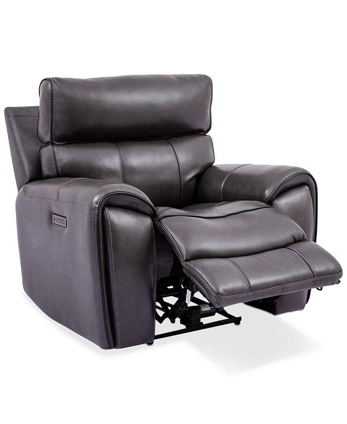 "Furniture - Hutchenson 43"" Leather Power Recliner"