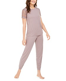 Lace-Trim T-Shirt & Pajama Pants Set