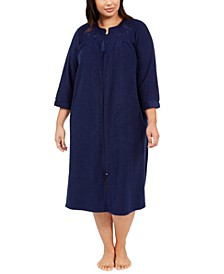 Plus Size Brushed Terry Long Zipper Robe