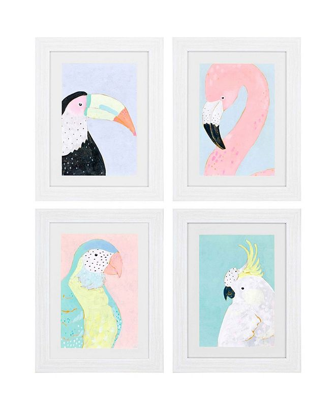 "Paragon Tropical Birds Framed Wall Art Set of 4, 26"" x 20"""