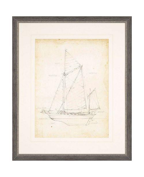 "Paragon Sailboat Blueprint V Framed Wall Art, 35"" x 29"""