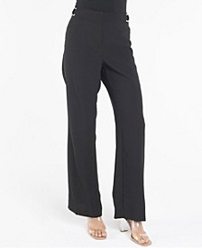 Fly Front Wide Leg Trouser with O-Ring Details