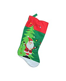 """19"""" Green Felt Santa and Christmas Tree Decorative Stocking with Red Cuff"""