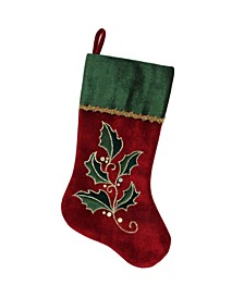 "21"" Red and Green Holly Embroidered Velvet Christmas Stocking with Gold Metallic Trim"
