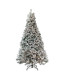 Pre-Lit Heavily Flocked Pine Medium Artificial Christmas Tree