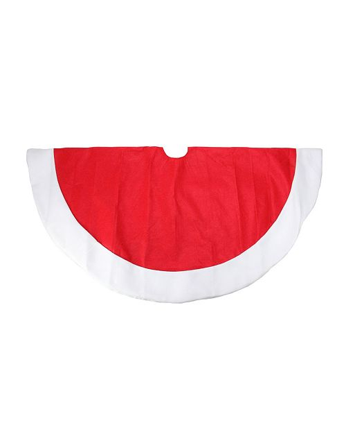 """Northlight 48"""" Traditional Red Christmas Tree Skirt with White Border"""