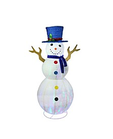 "72"" Pre-Lit LED Multi-Color Embossed Snowman with Top Hat Christmas Outdoor Decoration"