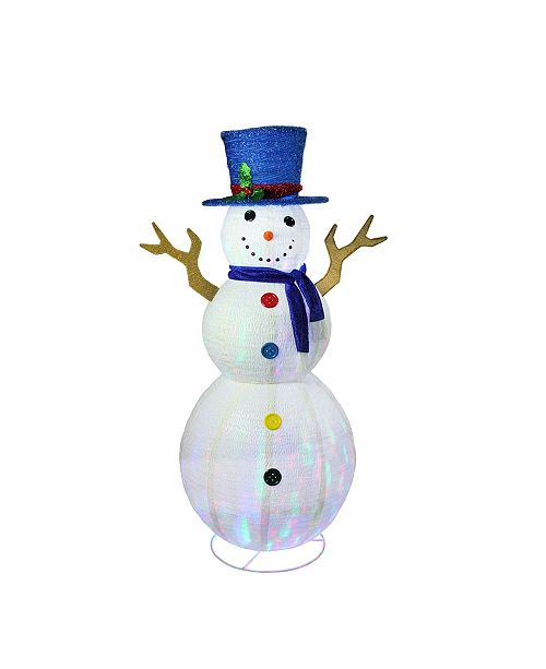 """Northlight 72"""" Pre-Lit LED Multi-Color Embossed Snowman with Top Hat Christmas Outdoor Decoration"""