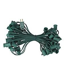 "50' Commercial C9 Christmas Light Socket Set - 12"" Spacing 18 Gauge Green Wire"