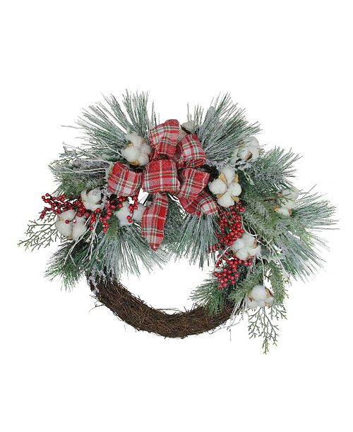 Northlight Plaid Glittered Cotton and Holly Berry Artificial Christmas Wreath - 24-Inch Unlit