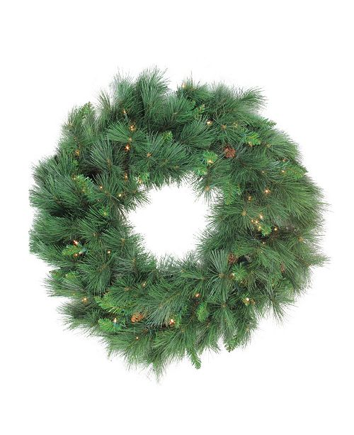 Northlight Pre-lit White Valley Pine Artificial Christmas Wreath - 36-Inch Clear Lights