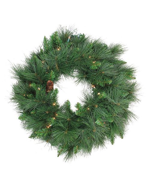 Northlight Pre-Lit White Valley Pine Artificial Christmas Wreath - 24-Inch Clear Lights