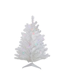 2' Pre-Lit Snow White Artificial Christmas Tree - Multi Lights