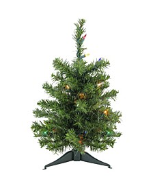"18"" Pre-Lit Canadian Pine Artificial Christmas Tree - Multi Lights"