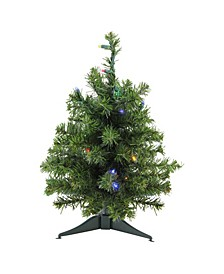 "18"" Pre-Lit LED Canadian Pine Artificial Christmas Tree - Multi Lights"