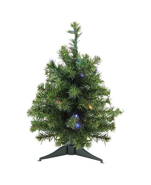 """Northlight 18"""" Pre-Lit LED Canadian Pine Artificial Christmas Tree - Multi Lights"""