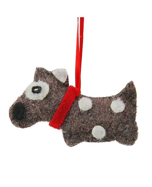 "Northlight 3"" Brown with White Dots Plush Dog Christmas Ornament"