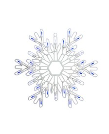 "15"" LED Lighted Pure White and Blue Snowflake Christmas Window Silhouette Decoration"