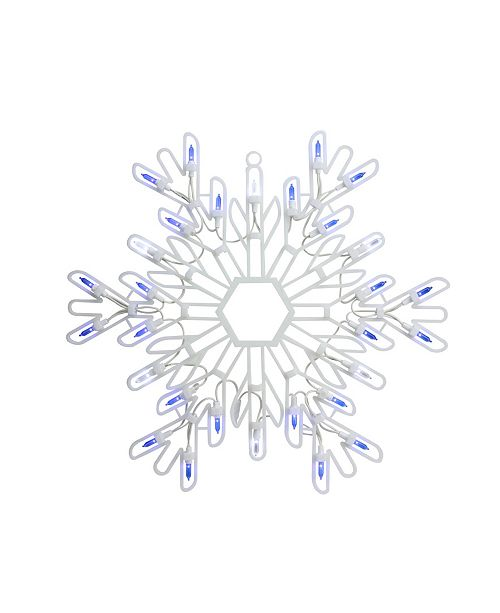 "Northlight 15"" LED Lighted Pure White and Blue Snowflake Christmas Window Silhouette Decoration"