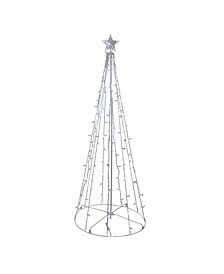 5' Blue and White LED Lighted Twinkling Show Cone Christmas Tree Outdoor Decoration
