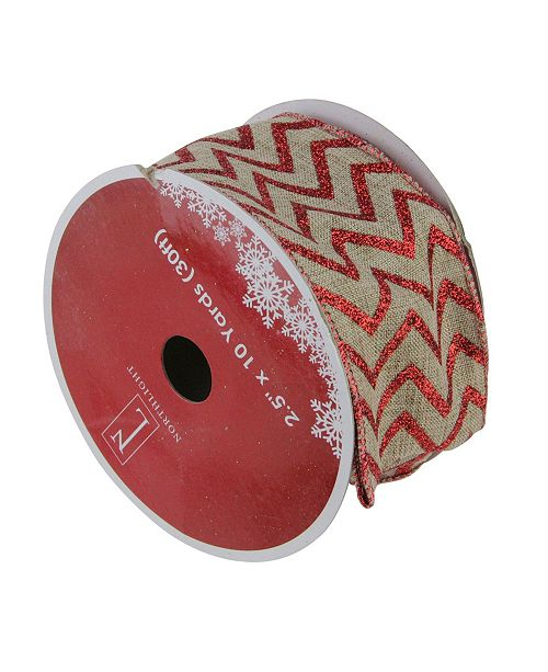 """Northlight Dazzling Red and White Chevron Wired Christmas Craft Ribbon 2.5"""" x 10 Yards"""
