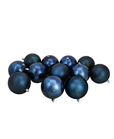 """12ct Sapphire Blue Shatterproof Shiny and Matte Christmas Ball Ornaments 4"""" 100mm"""
