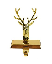 "8"" Shiny Gold Metal Deer Christmas Stocking Holder"