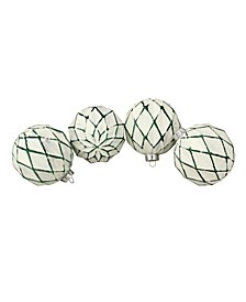 """4ct Emerald Green and White Rhombic Pattern Glass Christmas Ball Ornaments 4"""" 100mm"""