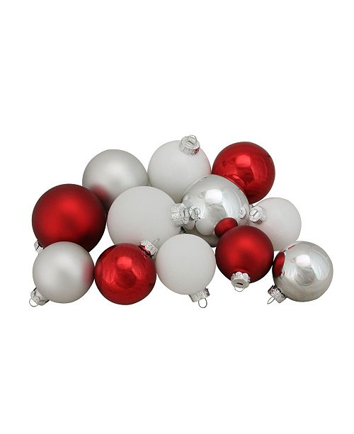 """Northlight 96ct Red Silver and White Shiny and Matte Glass Ball Christmas Ornaments 2.5-3.25"""""""