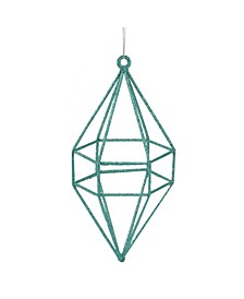 "7.5"" Glittered Turquoise Blue Geometric Finial Diamond Christmas Ornament"