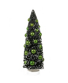 """15"""" Dark Green Sisal Christmas Tree with Green Ornaments Table Top Decoration"""