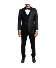 Tazio Men's Hybrid Fit Satin Shawl Collar Paisley Tuxedo