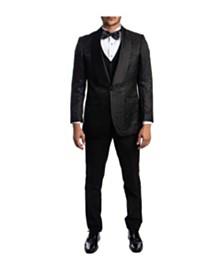 Tazio Men's Hybrid Fit Satin Shawl Collar Paisley Suit
