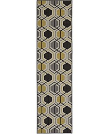 "Laicos Lai511 Yellow 1'10"" x 7' Runner Rug"