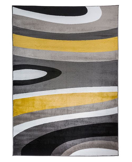 "Main Street Rugs Home Montane Mon110 Yellow 3'3"" x 5' Area Rug"