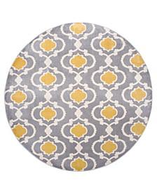 "Alba Alb310 Gray/Yellow 6'6"" Round Area Rug"