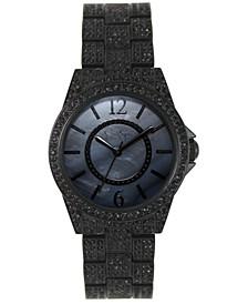 Women's Crystal Encrusted Black Plated Bracelet Watch 36mm