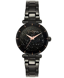 Women's Crushed Crystal Black Tone Bracelet Watch 32mm