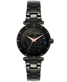 Jessica Simpson Women's Crushed Crystal Black Tone Bracelet Watch 32mm