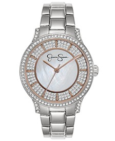Women's Crystal Encrusted Silver Tone Bracelet Watch 36mm