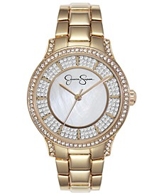 Women's Crystal Encrusted Gold Tone Bracelet Watch 36mm