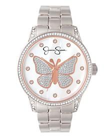 Women's Pave Crystal Butterfly Silver Tone Bracelet Watch 36mm