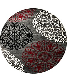 """Home Alba Alb303 Red 6'6"""" Round Area Rug"""