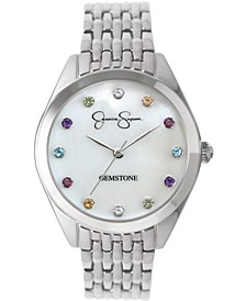 Women's Genuine Gemstone Silver Tone Bracelet Watch 37mm