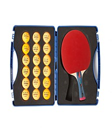 Tour Expert Table Tennis Case Set Includes 2 Smash Rackets 18 Balls