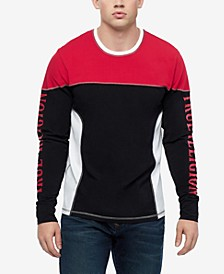 Men's 90S Panel Long Sleeve Colorblocked Rugby Crewneck Sweatshirt